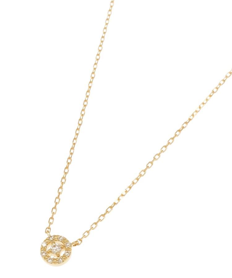 COCOSHNIK(ココシュニック)K18ダイヤモンド 透かし取り巻き ネックレス