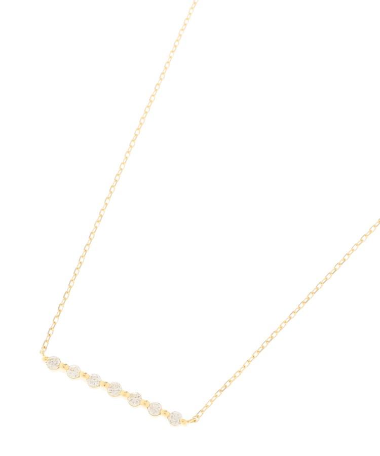 COCOSHNIK(ココシュニック)K18ダイヤモンド 伏せ込み7石横バー ネックレス