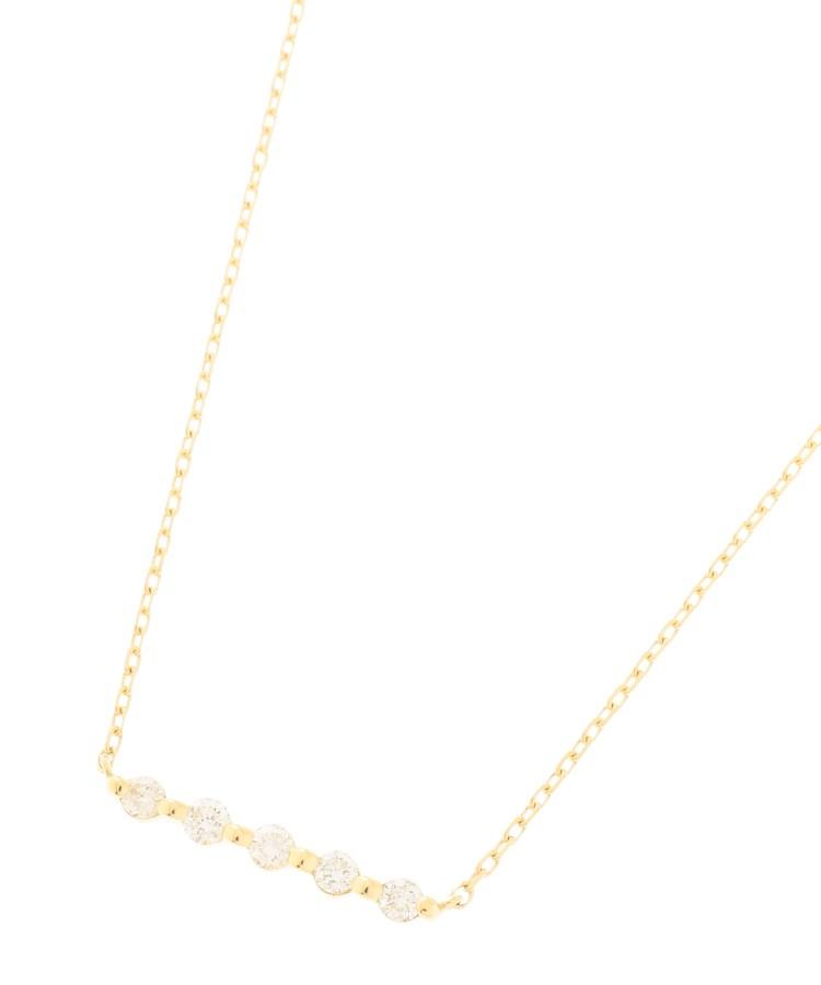 COCOSHNIK(ココシュニック)K18ダイヤモンド 伏せ込み5石横バー ネックレス