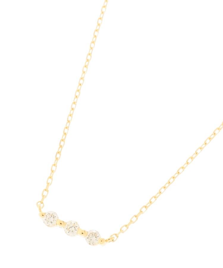 COCOSHNIK(ココシュニック)K18ダイヤモンド 伏せ込み3石横バー ネックレス