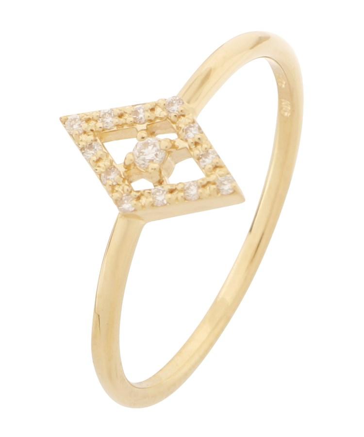COCOSHNIK(ココシュニック)K18ダイヤモンド ひし形取り巻き リング