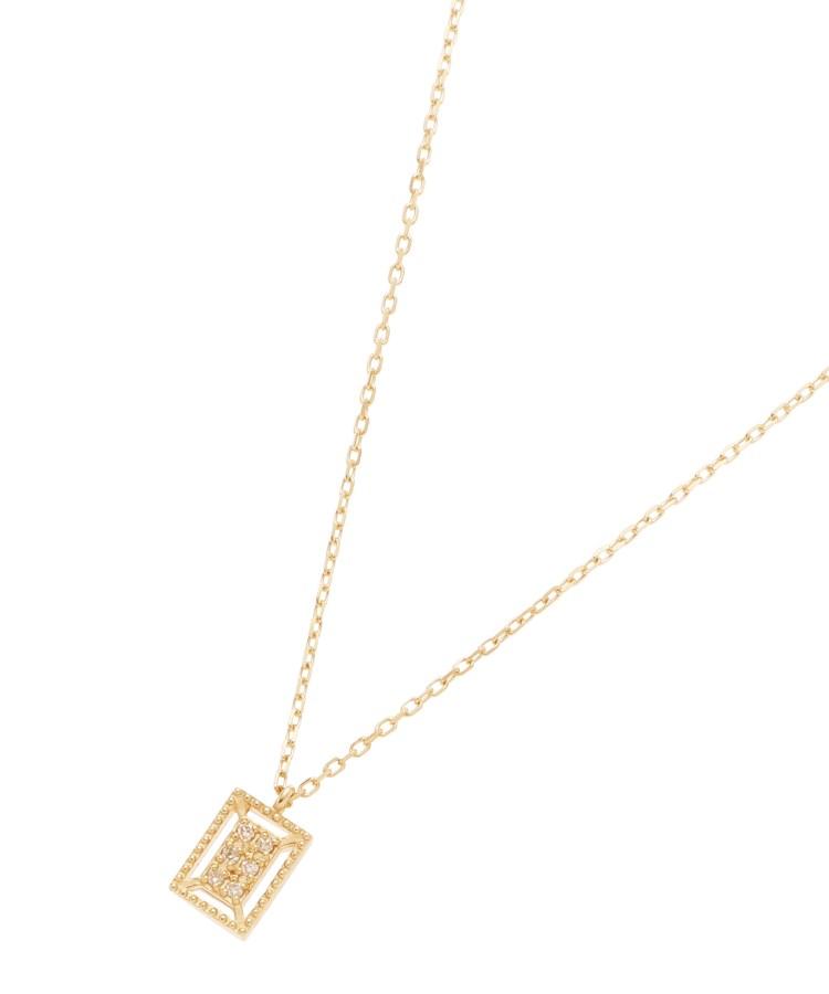 COCOSHNIK(ココシュニック)ダイヤモンド 透かしフチミル スクエア ネックレス