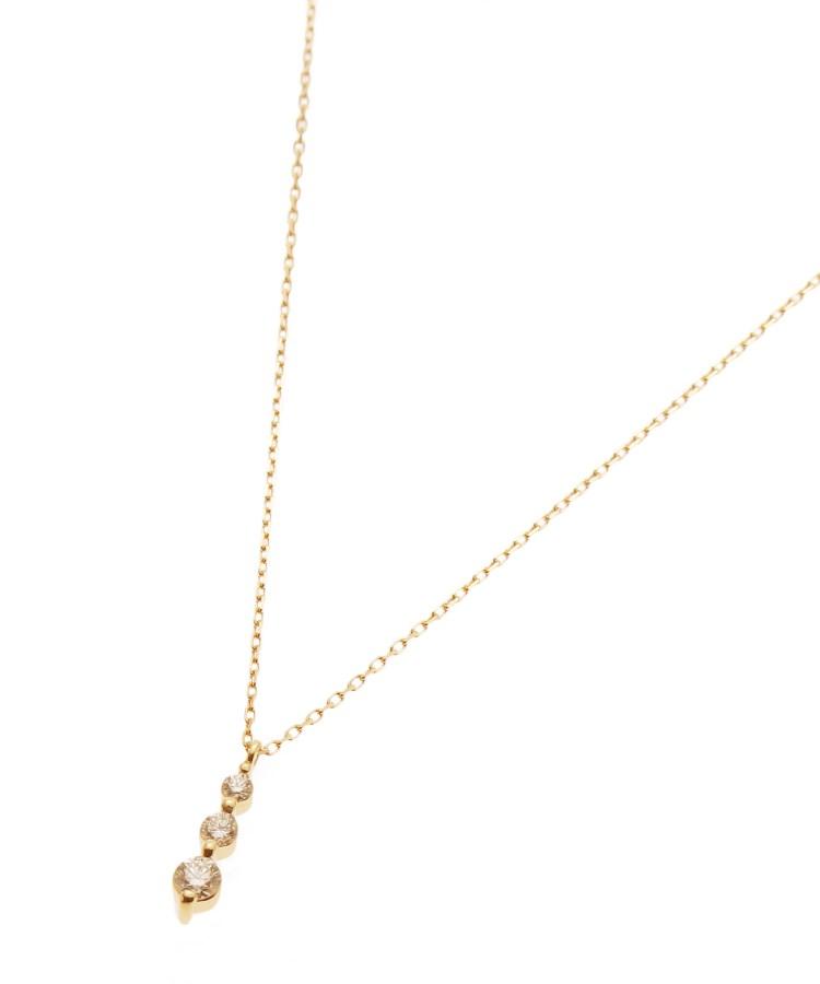 COCOSHNIK(ココシュニック)K18ダイヤモンド 伏せ込みトリロジー ネックレス大