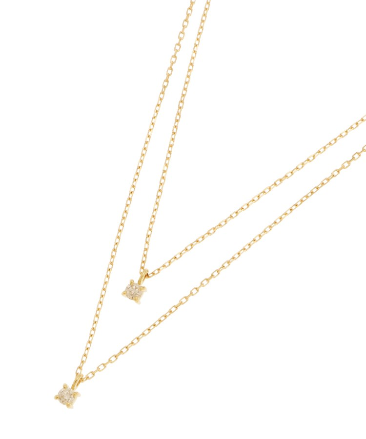 COCOSHNIK(ココシュニック)K18ダイヤモンド 4本爪 2連ネックレス