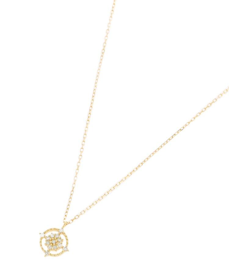 COCOSHNIK(ココシュニック)K18ダイヤモンド 透かしフチミル ラウンドネックレス