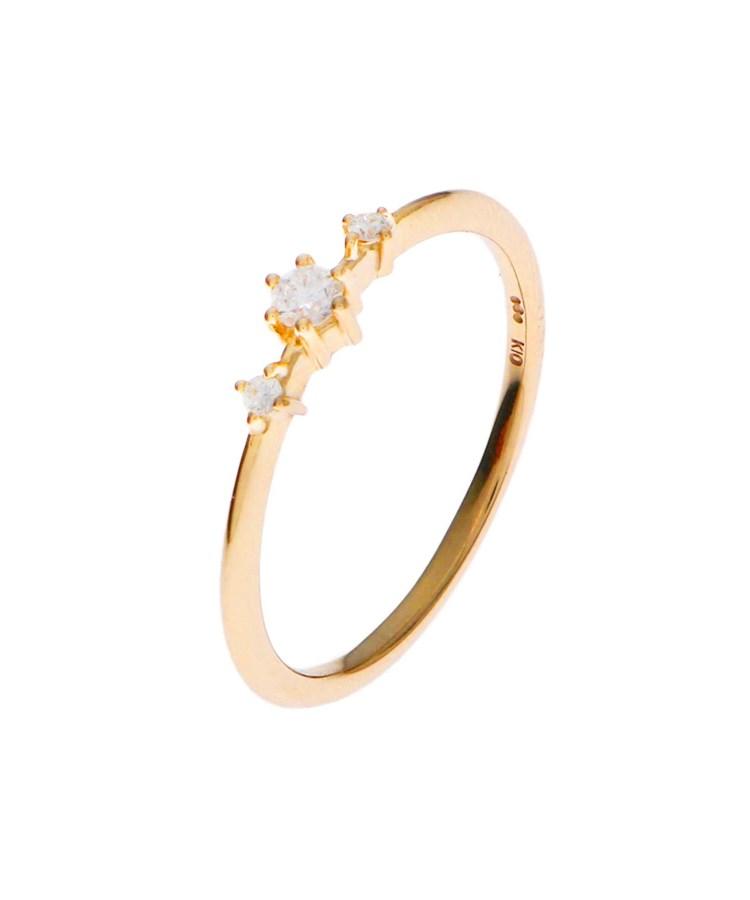 COCOSHNIK(ココシュニック)ダイヤモンド しのぎ6本爪 サイドメレーリング