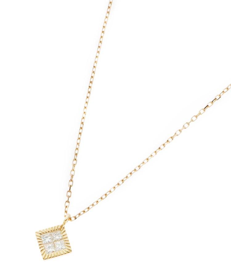 COCOSHNIK(ココシュニック)K18ダイヤモンド ミステリーセッティング ひし形ベゼルネックレス
