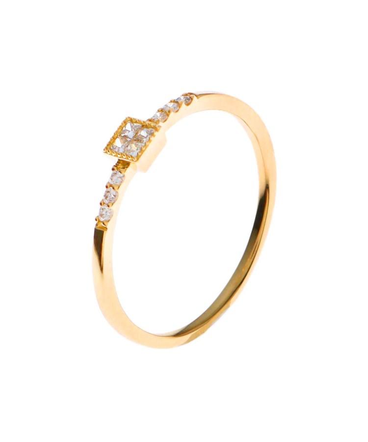 COCOSHNIK(ココシュニック)K18ダイヤモンド ミステリーセッティング サイドメレーリング