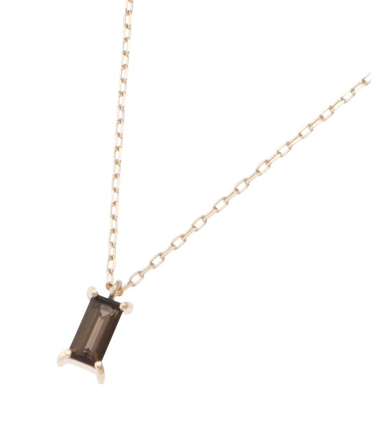 COCOSHNIK(ココシュニック)カラーストーン(スモーキークォーツ) バゲットカット ネックレス