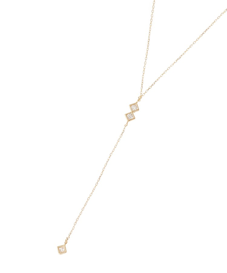 COCOSHNIK(ココシュニック)ダイヤモンド スクエアはさみ留めY字 ネックレス