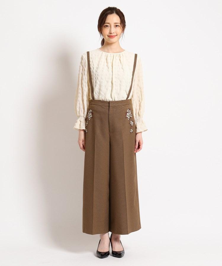 SunaUna(スーナウーナ)【洗える】サス付き刺繍入りワイドパンツ
