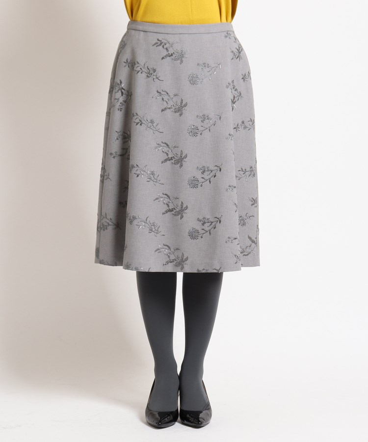 SunaUna(スーナウーナ)【洗える】ストームフラワー刺繍入りスカート