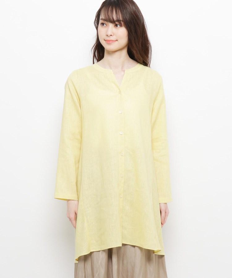 esche(エッシュ)麻混ボタンデザインシャツ