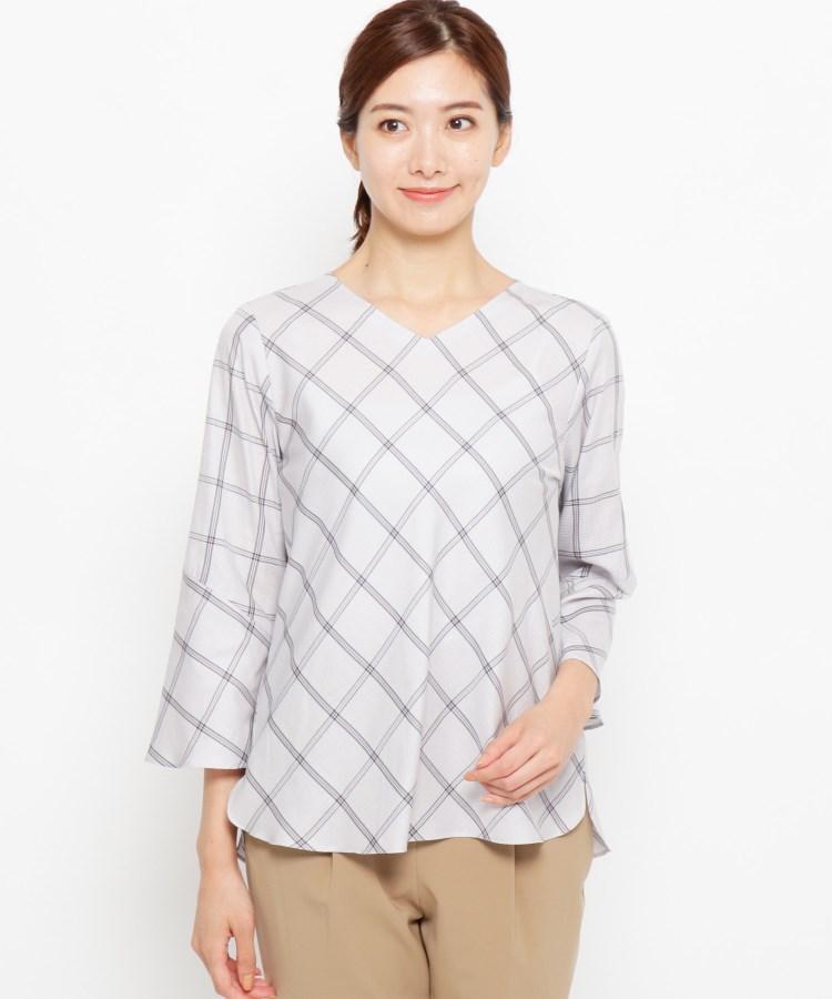 smart pink(スマートピンク)【手洗い可】ツイルチェック袖フレアシャツ