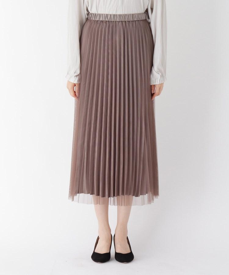 smart pink(スマートピンク)【手洗い可】チュールサテンプリーツスカート