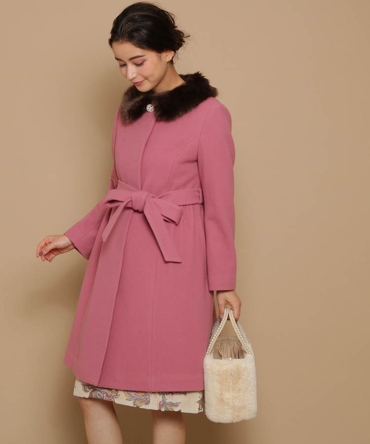 Bon mercerie(ボン メルスリー)【WEB限定カラーあり】衿ファーウールコート