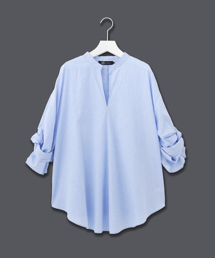 JET(ジェット)【ウォッシャブル】綿麻ローンスキッパーツイストスリーブシャツ