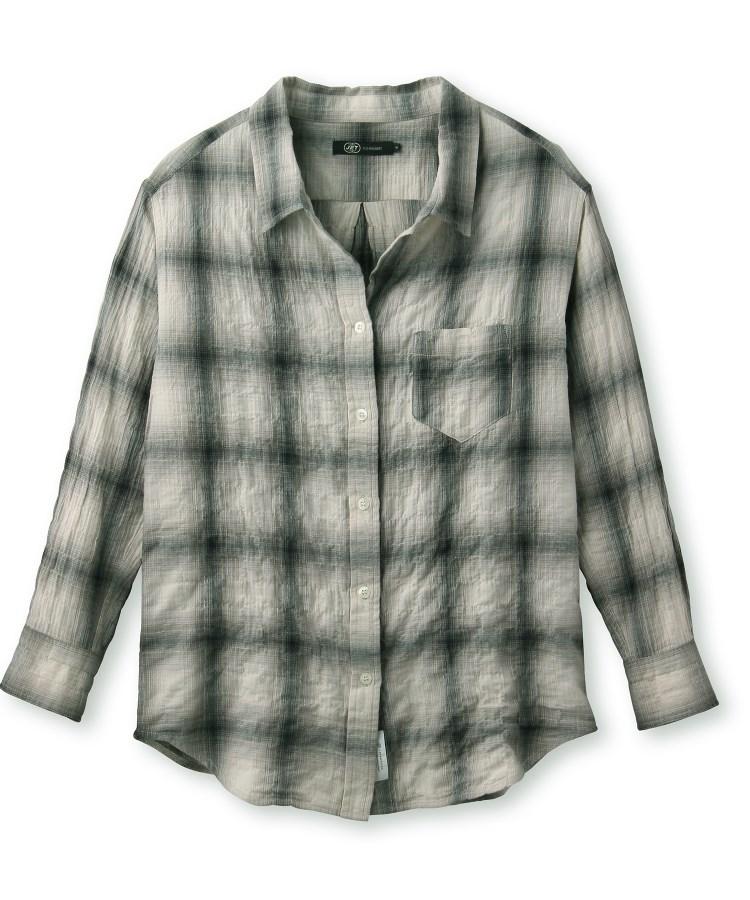JET(ジェット)【ウォッシャブル】ヘリンボーンチェックコットンシャツ