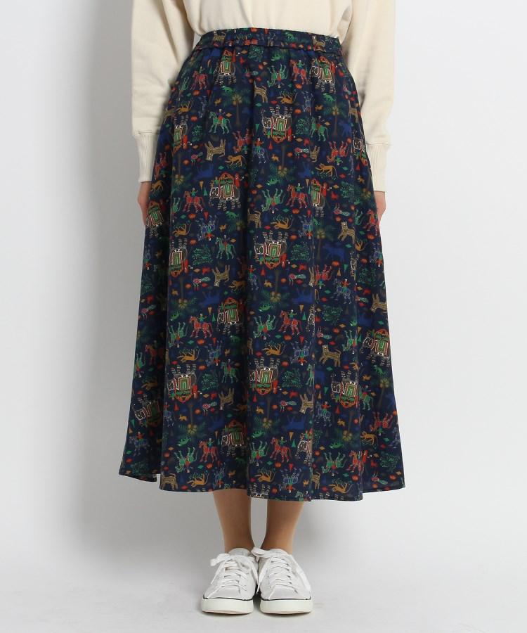 Dessin(Ladies)(デッサン(レディース))【Sサイズあり・洗える】ピトラプリントフレアスカート