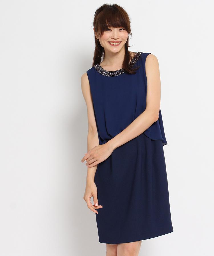 INDIVI COLOR DRESS(インディヴィ カラードレス)INDIVI シフォンドッキングワンピース