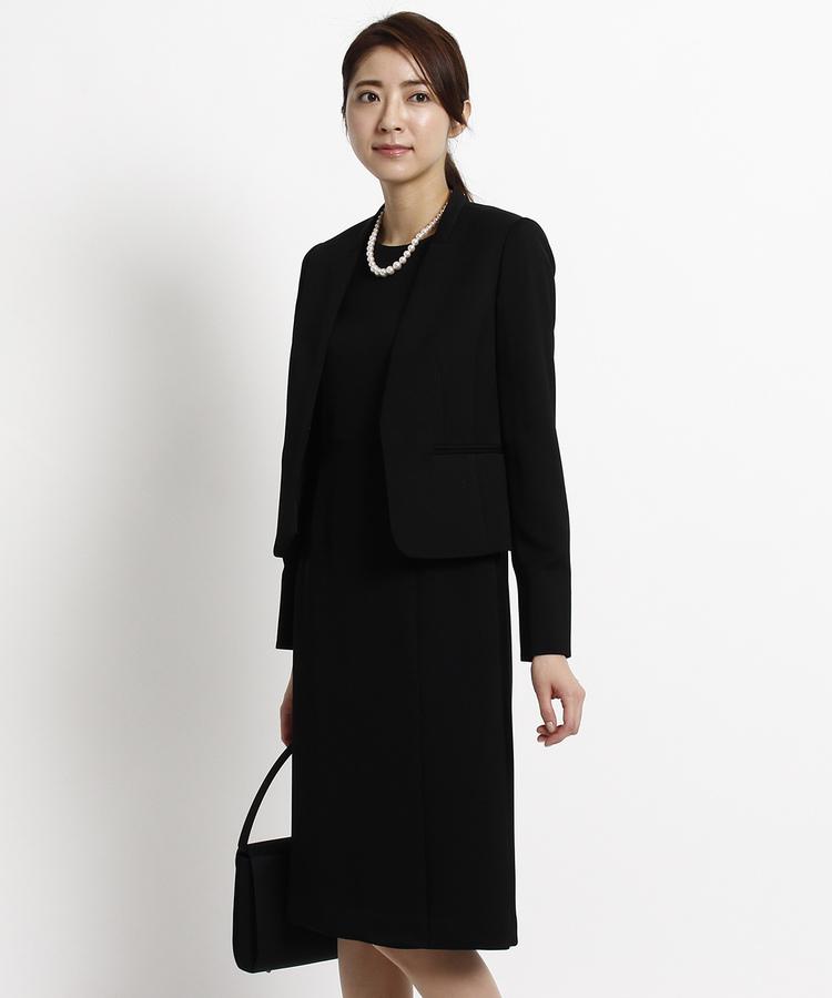 INDIVI COLOR DRESS(インディヴィ カラードレス)INDIVI Vネックジャケット×ラップ風ワンピースセット
