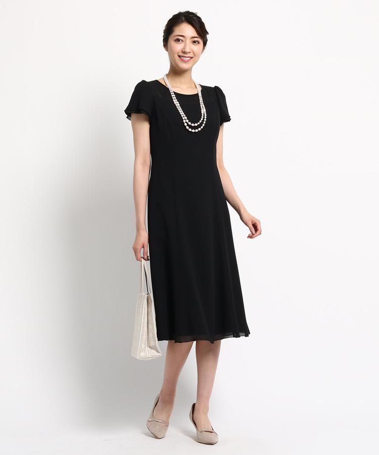 INDIVI COLOR DRESS(インディヴィ カラードレス)Apploberry フレアスリーブセミロングワンピース