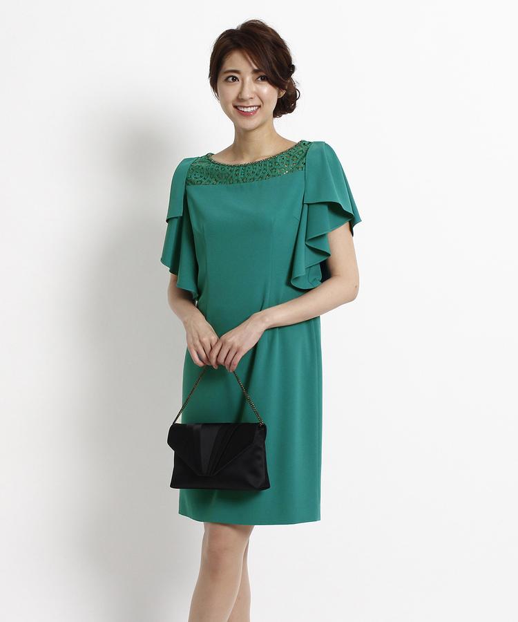 INDIVI COLOR DRESS(インディヴィ カラードレス)INDIVI フレアスリーブジョーゼットワンピース