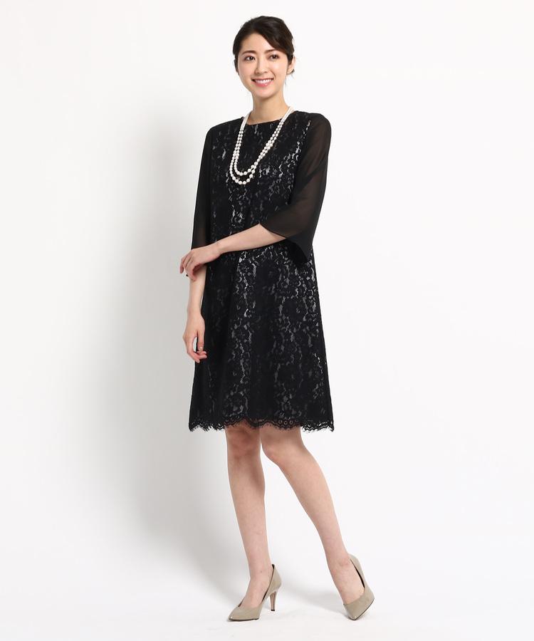 INDIVI COLOR DRESS(インディヴィ カラードレス)EMOTIONAL DRESSES サテンレースワンピース