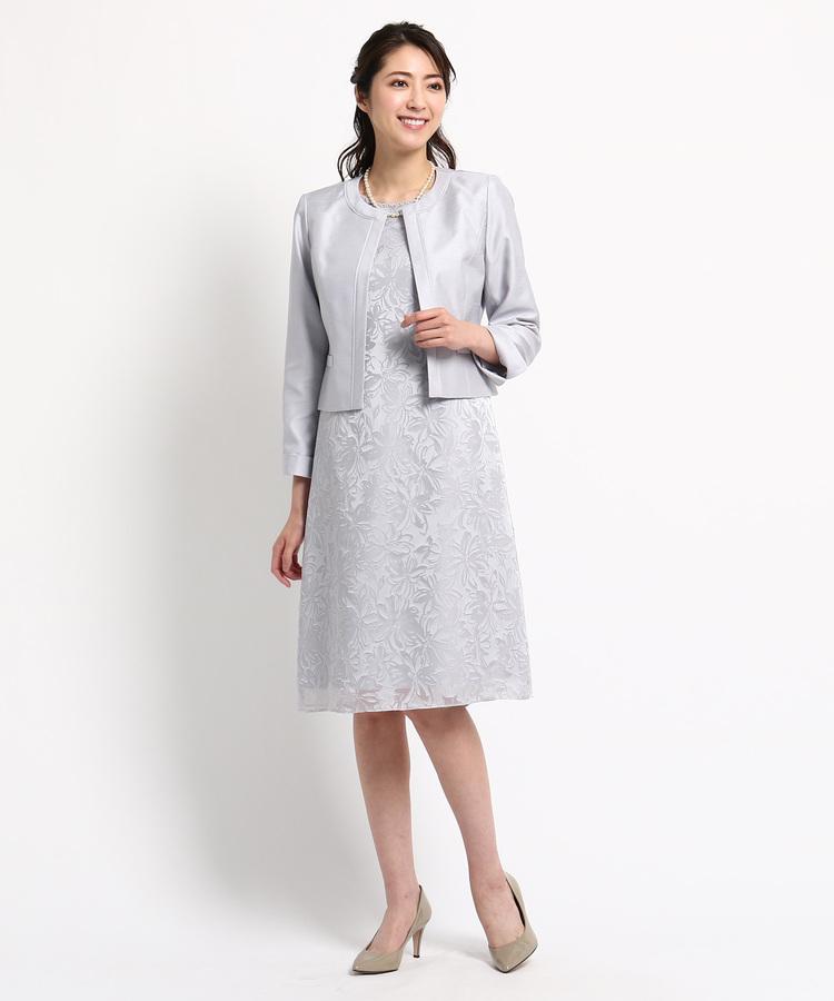 INDIVI COLOR DRESS(インディヴィ カラードレス)RIFANNE シャンタンワンピース+ジャケット