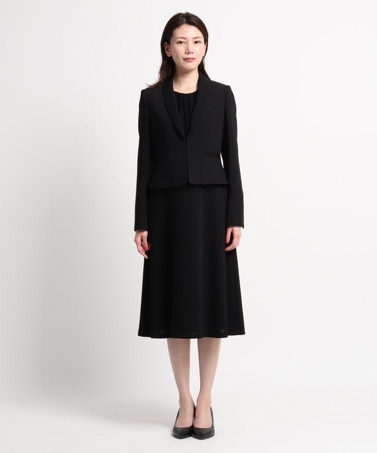 WORLD FORMAL SELECTION(ワールド フォーマル セレクション)INDIVI ヘチマ襟ジャケット+異素材7分袖ワンピース