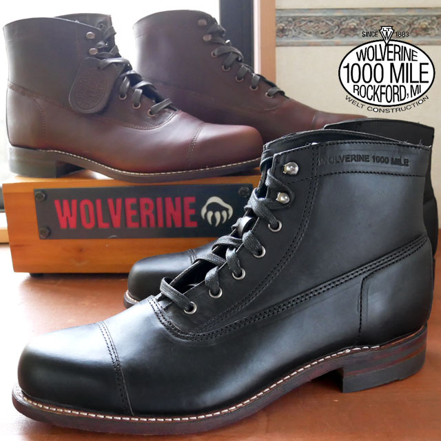 【送料無料】(一部地域除く)ウルヴァリン 靴ロックフォード WOLVERINE ウルバリン ROCKFORD キャップトゥ 1000マイルブーツ メンズ ワークブーツ カジュアル W05292(BLACK) W05293(BROWN) evid【sd】