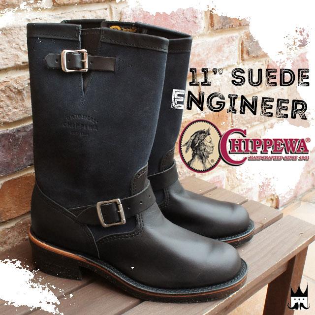 【送料無料】(一部地域除く)チペワ CHIPPEWA メンズ ブーツ 1901S03 エンジニアブーツ スチールトゥ 11インチ スエードエンジニア カジュアルブーツ ブラック 黒 BLACK ビブラムソール evid