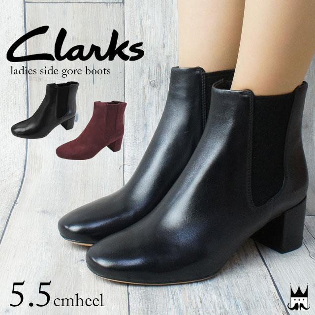 【P最大42倍 8/4 20時~】クラークス Clarks サイドゴアブーツ ショートブーツ 本革 レディース 121G evid