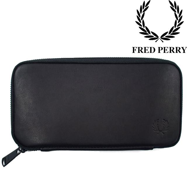 フレッドペリー FRED PERRY メンズ レディース 長財布 F19828 本革 ラウンドファスナー 黒 ZIP AROUND LEATHER PURSE evid