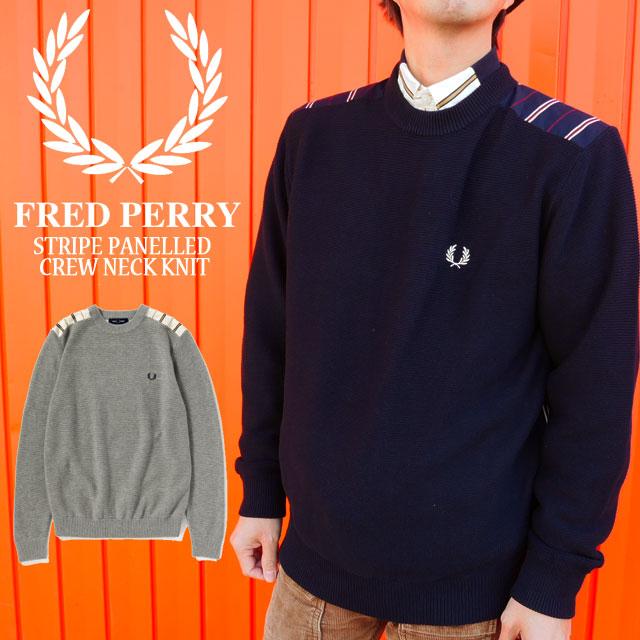 【送料無料】フレッドペリー FRED PERRY FRED PERRY ストライプ クルーネック ニット メンズ F3218 トップス カジュアル 月桂樹 ローレル evid