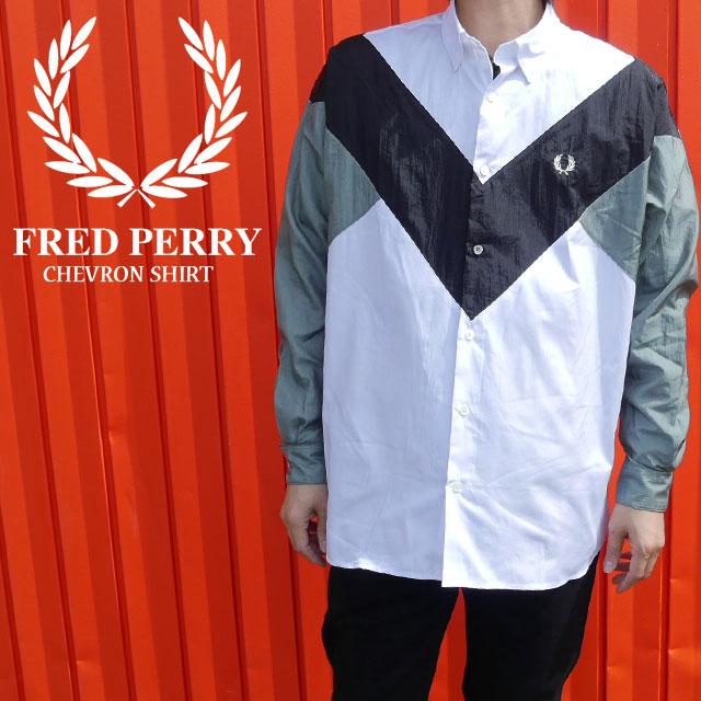 【送料無料】フレッドペリー FRED PERRY シェブロンシャツ メンズ F4551 長袖 トップス カジュアル 綿100% 月桂樹 ローレル evid
