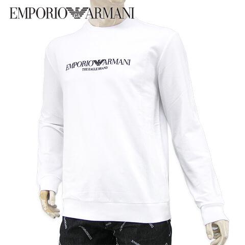 【2020春夏新作】 エンポリオアルマーニ/EMPORIO ARMANI メンズ スウェットシャツ 8N1ME8 1J04Z (BIANCO OTTICO/0100) ホワイト/トレーナー/クルーネック/長袖/ストレッチ/大きいサイズ-t