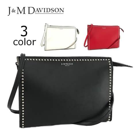 ジェイアンドエムデヴィッドソン/J&M DAVIDSON レディースショルダーバッグ 1668N 7314 3COLOR (BLACK ブラック 9990/NEW WHITE ホワイト 0150/CHERRY RED チェリーレッド 8110) ELLE WITH STUDS/エル ウィズ スタッズ/ハンドバッグ/セール品