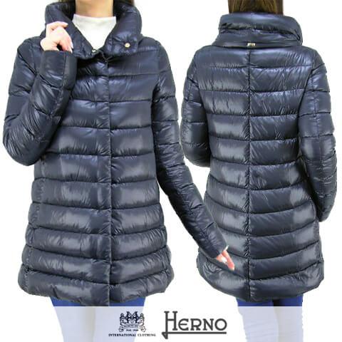 ヘルノ/HERNO レディース ダウンコート PI0505DIC 12017 (ネイビー:9200) ダウン/アウター/ロング/セール品 【プレミアムSTOCK-AW】