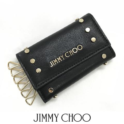 ジミーチュウ/JIMMY CHOO ユニセックス キーケース HOWICK OUD (BLACK/GOLD/ブラック) ハウィー/サテンレザー/ラウンドスタッズ/6連/小物/プレゼント/誕生日/クリスマス/メンズ/男女兼用/ゴールド金具/セール品