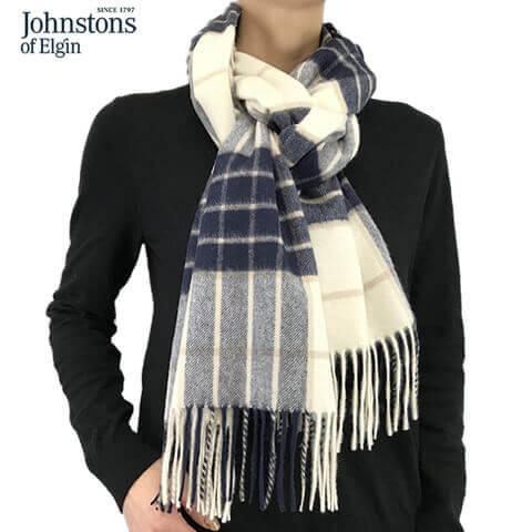 2019 20秋冬ジョンストンズ Johnstons レディース カシミア100% 中判ストール マフラー WA000057 RU5380KNOCKMOREノックモア ユニセックス チェック柄 WA57 WA000056 WA56 小物0Pk8wOnX