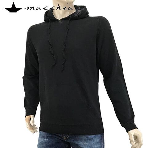 マッキアジェー/MACCHIA J メンズ ニットパーカー MM1503 T WOME (ブラック/90) ニット/パーカー/プルオーバー/長袖/ラグラン/大きいサイズ-t/SL【プレミアムSTOCK-19AW】
