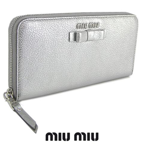ミュウミュウ/MIU MIU レディース 長財布/サイフ MADRAS FIOCCO 5ML506 3R7 (シルバー/CROMO/F0135) ラウンドファスナー/miumiu/MADRAS FIOCCO/マドラス フィオッコ セール品