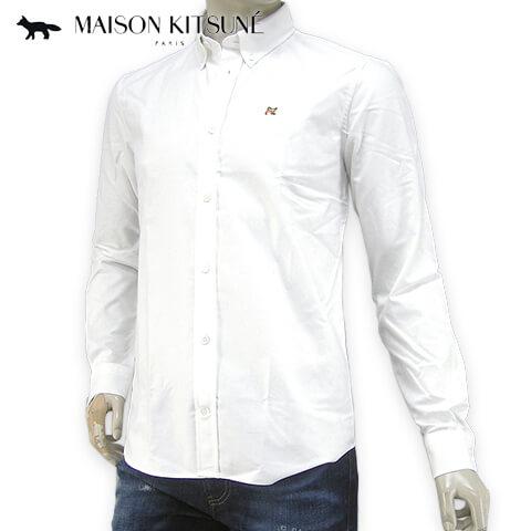 メゾンキツネ/MAISON KITSUNE メンズ 長袖シャツ BM00415 WC0003 (ホワイト/WHITE) ボタンダウン/ボタンダウンシャツ/胸刺繍/SL【プレミアムSTOCK-19AW】