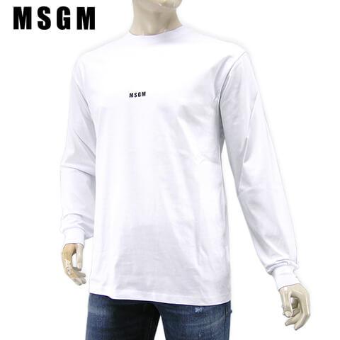 エムエスジーエム MSGM メンズ 長袖Tシャツ イタリア直輸入価格 送料無料 25%OFF 限定タイムセール 2020-21秋冬新作 カットソー クルーネック ロンT 2940MM160 01 ホワイト 207598