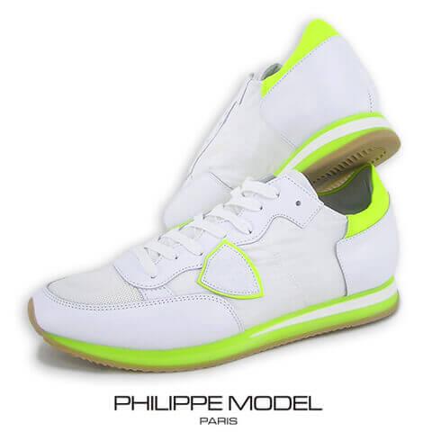 【2019春夏新作】 フィリップモデル/PHILIPPE MODEL メンズ スニーカー TROPEZ LOW UOMO TRLU NV02 (ホワイト/ネオンイエロー) シューズ/靴/ローカット