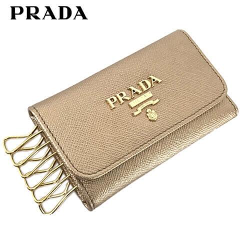 プラダ/PRADA キーケース SAFFIANO METAL 1PG222 QWA (QUARZO MORDORE/ピンクゴールド/F0CGQ) 6連/小物/プレゼント/誕生日/パーティー/バレンタイン/クリスマス/レディース/ゴールド 金具/セール品