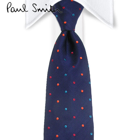 ポールスミス/Paul Smith メンズ ネクタイ LU11047 (ネイビー/マルチドット柄) ジャガード織り/結婚式/プレゼント/誕生日/就職/パーティー/バレンタイン/父の日/クリスマス/成人式/小物
