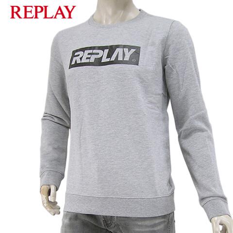 リプレイ/REPLAY メンズ スウェットシャツ M3914 21842 (グレー/M05) トレーナー/クルーネック/長袖/SL【プレミアムSTOCK-19AW】