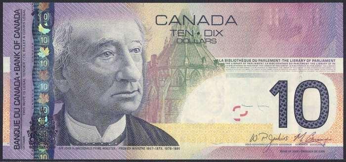 カナダ 10 dollars 初代首相ジョン・マクドナルド 2005-2008年